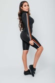Black Side Stripe Sweat Top And Cycle Short Co-ord