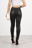 Black Button Detail Faux Leather Leggings