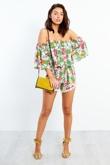 Tropical Print Off Shoulder Pom Pom Shorts Co-Ord