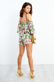 LM5794-Tropical Print Off Shoulder Pom Pom Shorts Co-Ord