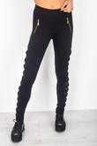 Black Bow Mesh Insert Side Panel Leggings