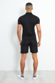 Mens Black Colourblock Polo Zipper T-Shirt And Shorts Set