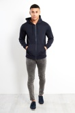 Navy Contrast Piping Detail With full Zip Front Hoodie