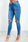 1189- Blue Knee Cut Frayed Hem Skinny Jeans