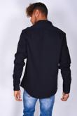 Mens Navy Pocket Front Long Sleeve Shirt