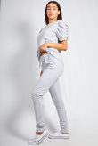 Grey Puff Sleeve Top And Trouser Lounge Set