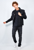 Mens Black Contrast Borg Collar Cord Jacket