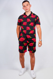 Mens Black Rose Print Shirt And Shorts Set