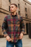 Mens Charcoal Brushed Cotton Checked Shirt