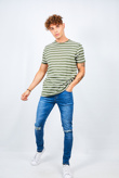 Mens Green Rolled Detail Striped Crew Neck T-Shirt