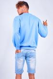 Mens Light Washed Distressed Denim Slim Shorts