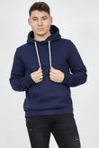Mens Navy Contrast Drawstring Pull Over Hoodie