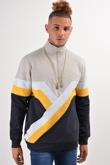 Mens Navy Retro Spliced panel with Half Zip Detailing Sweatshirt