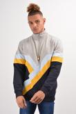 Mens Navy Retro Stripes Zip Detail Sweatshirt