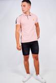 Mens Pink Contrast Stripe Detail Polo Shirt