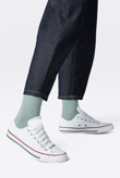 Mens White Lace Up Canvas Flat Trainers