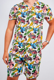 Mens White Psychedelic Zebra Print Shirt And Shorts Set