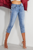 Mid Denim Cropped Lace Up Skinny Jeans