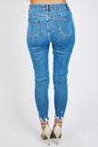Mid Wash Flayed Hem Skinny Jeans