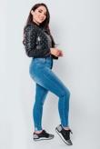 Mid Wash Hem Skinny Jeans