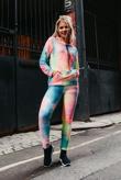 Multi Textured Tie Dye Hooded Top And Leggings Active Set