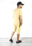 Mustard Lace Up Ribbed T-Shirt And Shorts Set