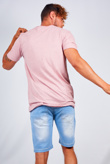 Mens Pink Speckled Nep Crew Neck T-Shirt
