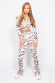 Burnt Orange Abstract Print Ruched Top and Flared Pants Co-ord