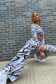 Petrol Blue Abstract Print Ruched Top and Flared Pants Co-ord