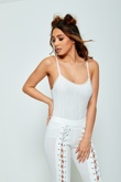 White Coding Diamante Strappy Bodysuit