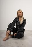 Black Piping Detail Long Sleeve Satin Pyjama Set