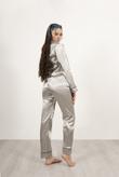 Grey Piping Detail Long Sleeve Satin Pyjama Set