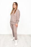 Pink Marl Dip Hem Top And Jogger Loungewear