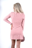 Pink Textured Knitted Embossed Dress
