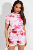 Pink Tie Dye Hooded Top And Shorts Lounge Set