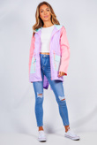 Lilac Colour Block Hooded Rain Mac