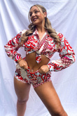 Red Boho Print Tie Front Full Sleeve Crop Top & Shorts Co-Ord With Headband
