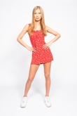 Red Floral Print Frill Detail Shift Dress