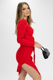 Red Ribbed Tie Waist Long Sleeve Dress