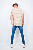 Mens Stone Rolled Detail Striped Crew Neck T-Shirt