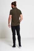 Mens Khaki Pocket Front Polo T-Shirt