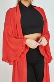 Red Long flare Sleeve Maxi cardigan