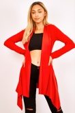 Red Ribbed Waterfall Cardigan