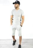 Grey Lace Up Ribbed T-Shirt And Shorts Set