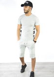 Navy Lace Up Ribbed T-Shirt And Shorts Set