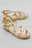 Rose Gold Studded Gladiator Espadrille Platform Wedge
