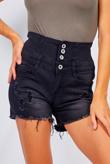 Black Wash Denim High Waist Button Detail Shorts