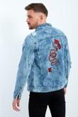 Snake Embroidered Distressed Denim Jacket