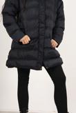 Navy Hooded Longline Puffer Coat