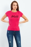 Sequinned Hell Embroidered Fuchsia T-shirt